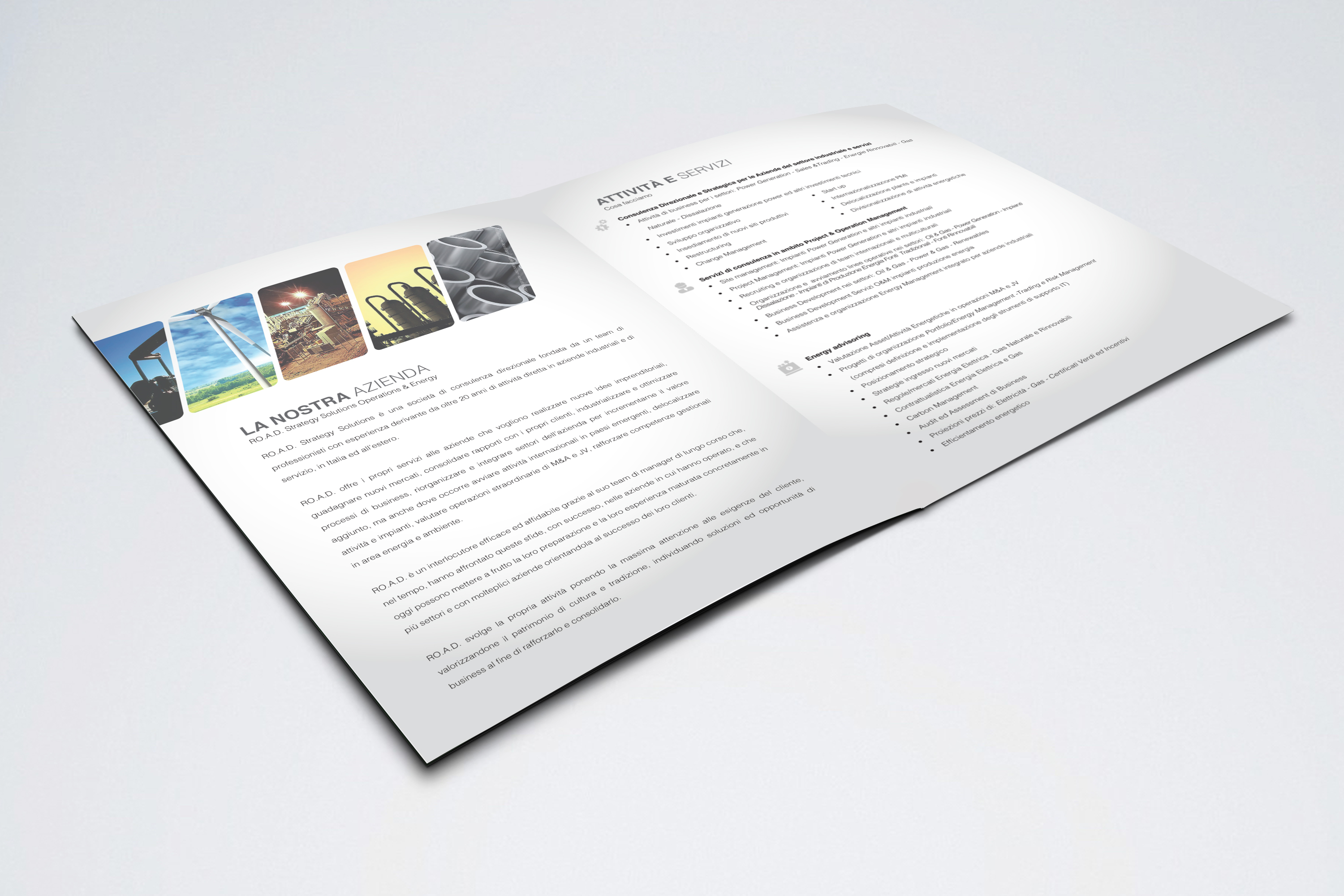 Brochure interno Road Strategy Solutions realizzato da Alice Bottino Visual Designer